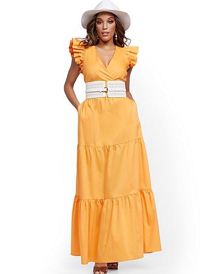 Petite Orange Ruffle-Sleeve Poplin Maxi Dress - New York & Company
