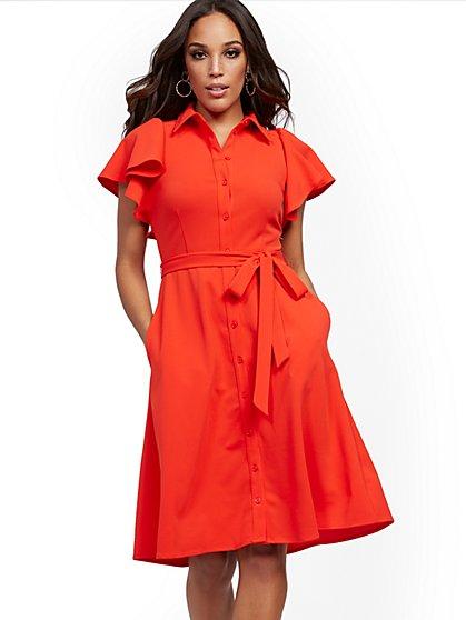 Petite Red Ruffle-Sleeve Shirtdress - Magic Crepe? - New York & Company