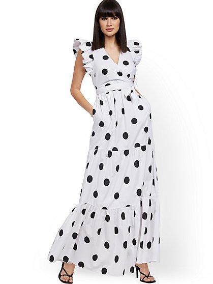 Petite Ruffle-Sleeve Poplin Maxi Dress - New York & Company