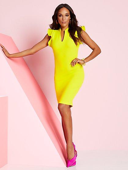 Petite Ruffle-Sleeve Sheath Dress - New York & Company