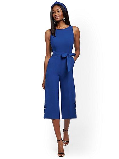 Petite Snap-Closure Culotte Jumpsuit - New York & Company
