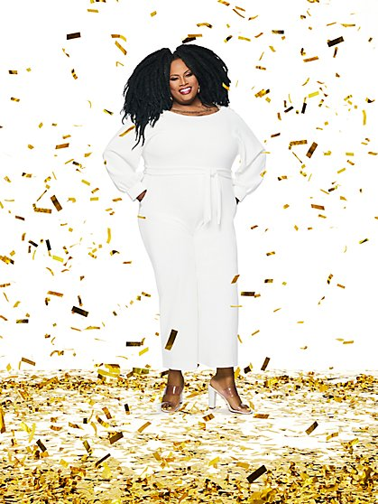 Petite White Balloon-Sleeve Jumpsuit - Gabrielle Union Collection - New York & Company