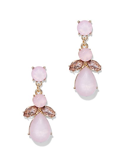 Pink Beaded Cluster Drop Earrings  - New York & Company