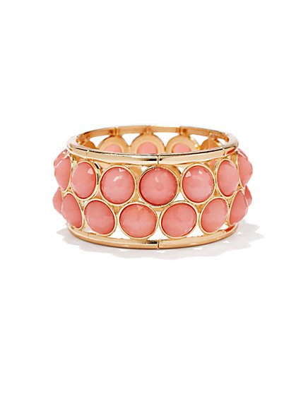 Pink Faceted Beads Stretch Bracelet - New York & Company