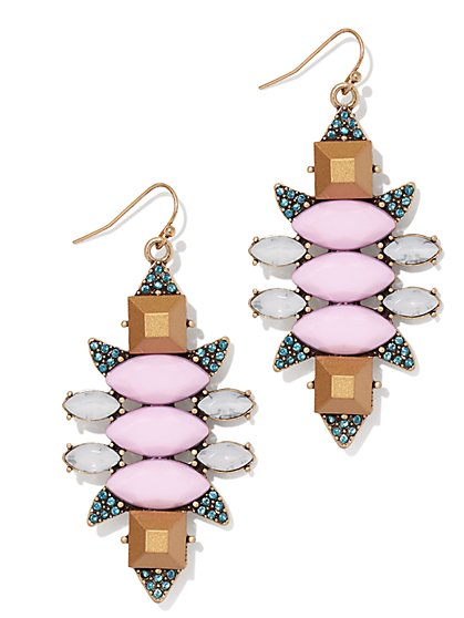 Pink Faux-Stone Drop Earring  - New York & Company