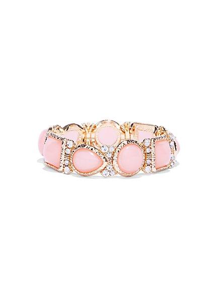 Pink Faux-Stone Goldtone Bracelet  - New York & Company