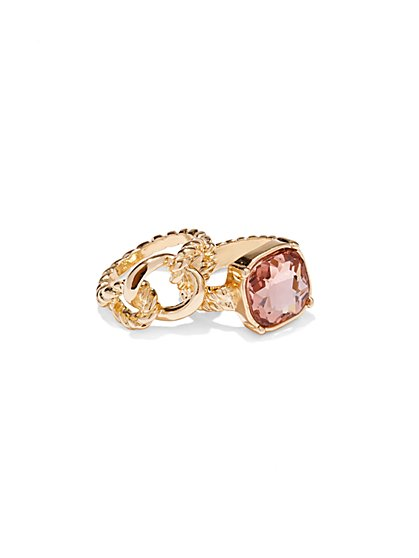 Pink Faux-Stone Stacked Ring  - New York & Company