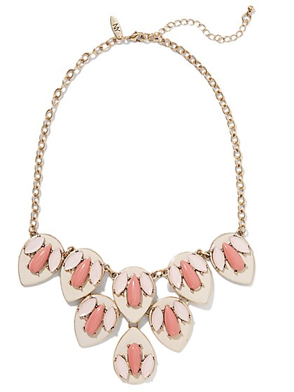 Pink Geo Floral Necklace - New York & Company