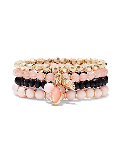 Pink/Goldtone 4-Row Stretch Bracelet  - New York & Company