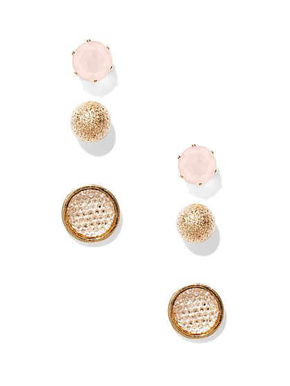 Pink/Goldtone Post Earring Set  - New York & Company