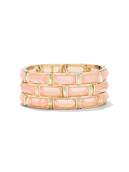 Pink/Goldtone Stretch Bracelet  - New York & Company