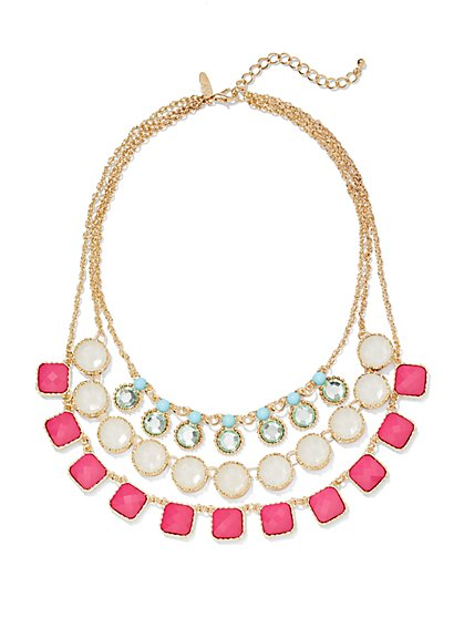 Pink Layered Necklace  - New York & Company