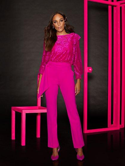 Pink Sash-Front Slim Pant - New York & Company