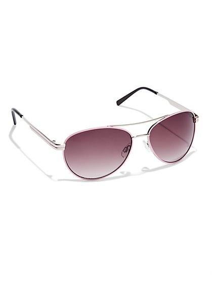 Pink-Trim Aviator Sunglasses