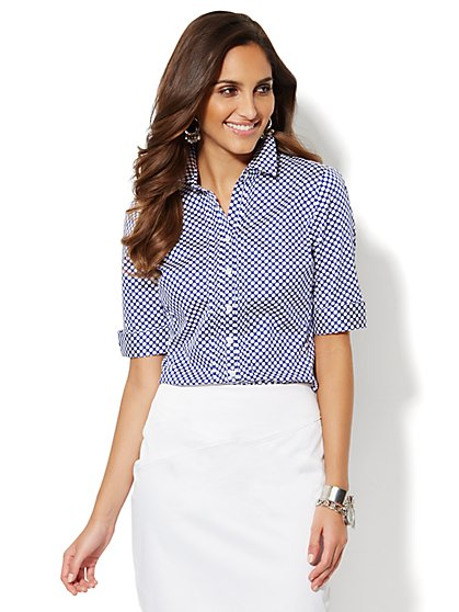 Pintuck Button-Down Shirt - Polka-Dot   - New York & Company