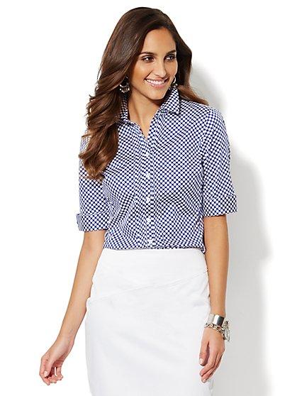 Pintuck Button-Down Shirt - Polka-Dot   - New York & Company