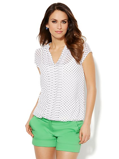 Pintuck Chiffon Blouse - Polka-Dot  - New York & Company