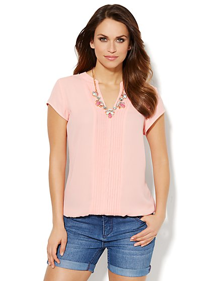 Pintuck Chiffon Blouse - Solid  - New York & Company