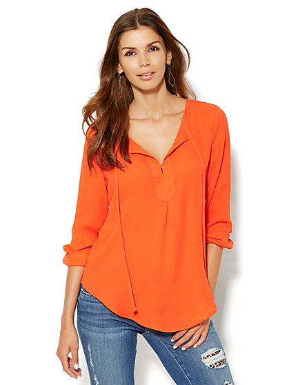 Pintuck Pleat Blouse - New York & Company