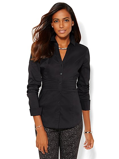 Pintuck Pleated Shirt  - New York & Company