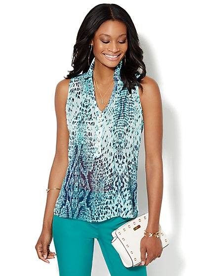 Pintuck Sleeveless Blouse - Animal Print  - New York & Company