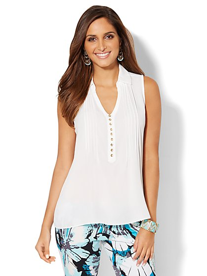 Pintuck Sleeveless Blouse - Solid  - New York & Company