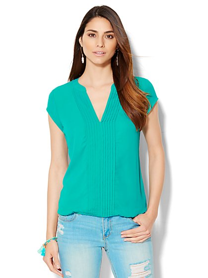 Pintuck Split-Neck Blouse  - New York & Company