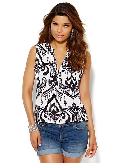 Pintuck Split-Neck Shell - Abstract Ikat - New York & Company