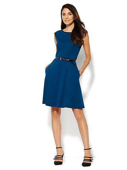 Piped Cotton-Stretch Flare Dress -  Petite  - New York & Company
