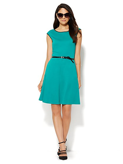 Piped Cotton-Stretch Flare Dress - New York & Company