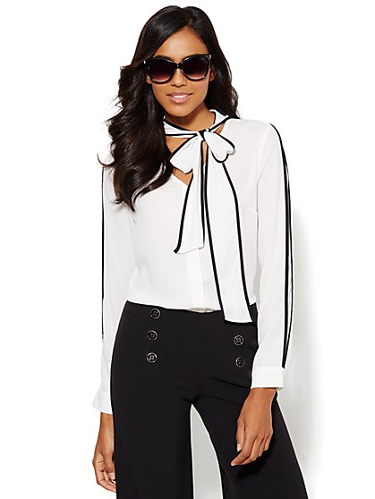 Piped Tie-Front Blouse - Petite  - New York & Company