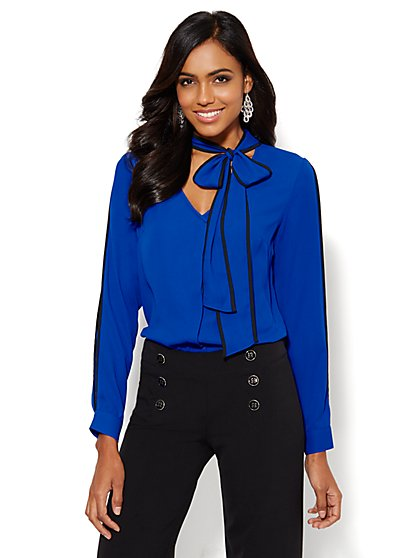 Piped Tie-Front Blouse  - New York & Company