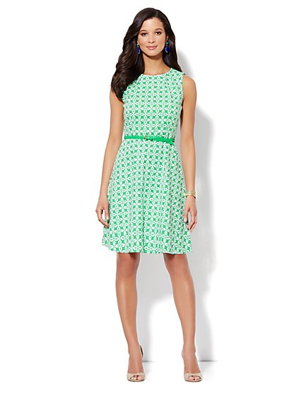 Pique Floral Fit & Flare Dress - New York & Company