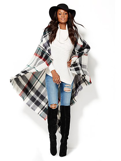 Plaid Blanket Scarf  - New York & Company