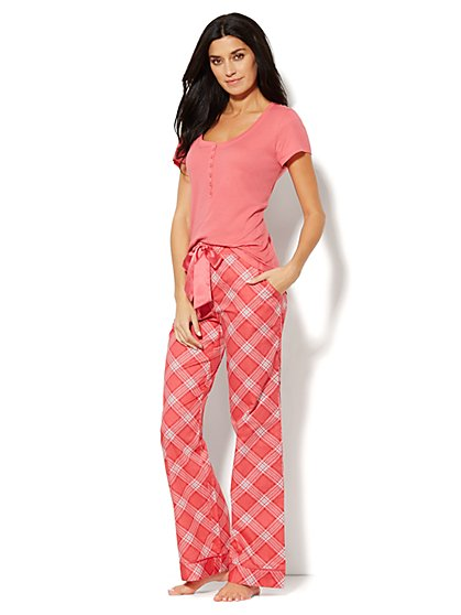 Plaid Cotton Pajama Set - New York & Company