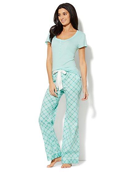 Plaid Cotton Pajama Set - New York & Company