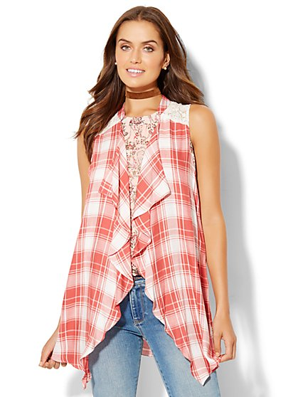 Plaid Crochet-Trim Vest  - New York & Company