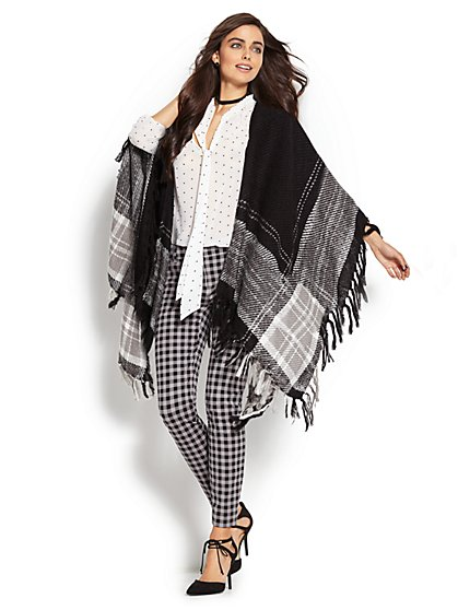 Plaid Fringe-Trim Wrap - New York & Company
