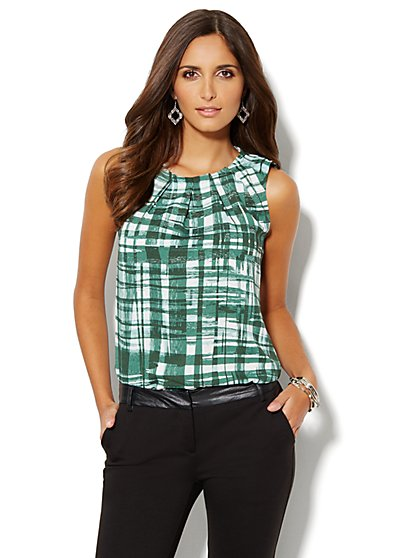 Plaid Pleat-Neck Shell - New York & Company