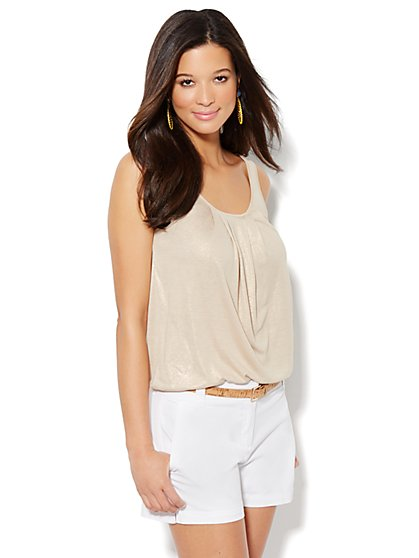 Pleat-Front Knit Top - Foil