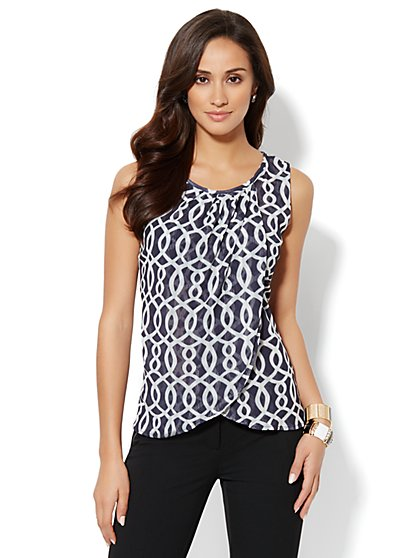 Pleat-Neck Printed Top