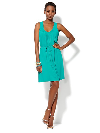 Pleat-Neck Solid Dress