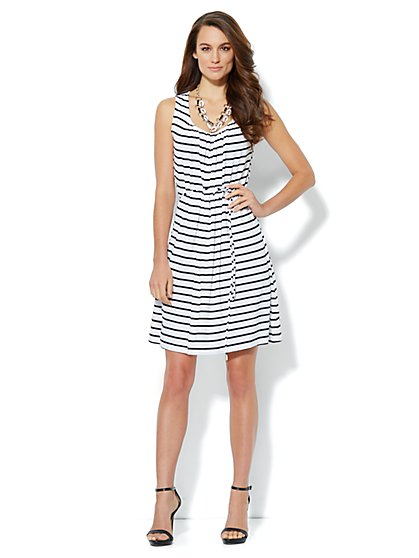 Pleat-Neck Stripe Dress