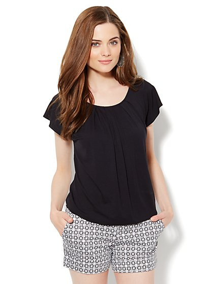 Pleat-Neck Tee