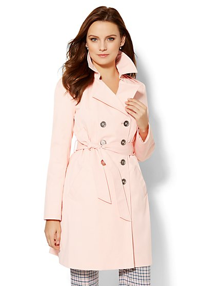 Pleat Shoulder Trench Coat  - New York & Company