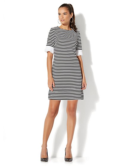 Pleat-Sleeve Sheath Dress - Stripe - New York & Company