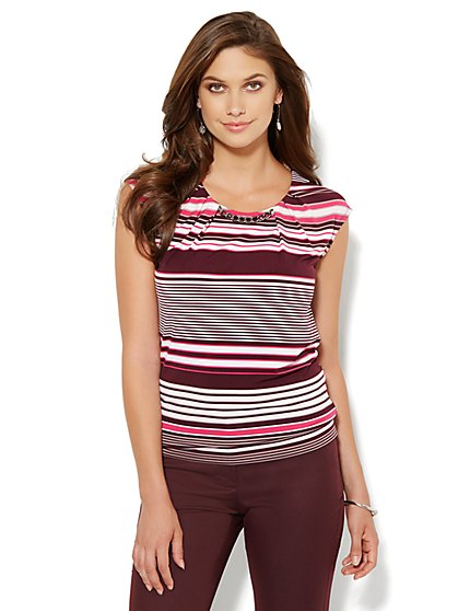 Pleated Chain-Link Top - Stripe  - New York & Company