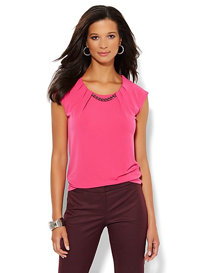 Pleated Chain-Link Top - New York & Company
