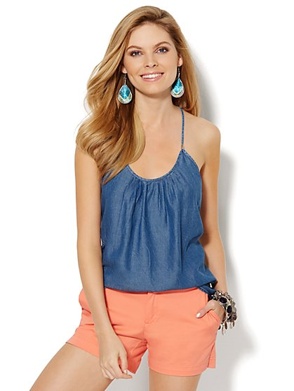 Pleated Chambray Racerback Top - New York & Company