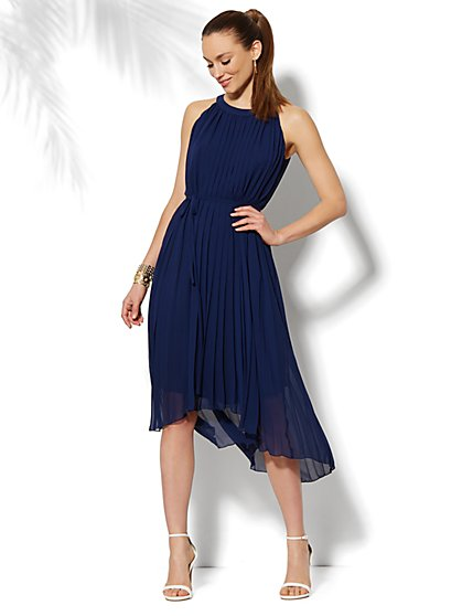 Pleated Chiffon Hi-Lo Halter Dress  - New York & Company
